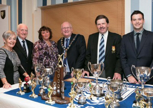 Pictured at the Cricket Club awards night are Sandra Boyd, NCU President Billy Boyd, Beatrice Ashe, Mayor Billy Ashe, Club President Roger Bell and Sky Sports reporter Paul Gilmour.