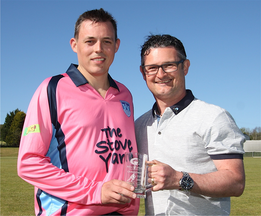 Carrick Captain Iain Parkhill receiving the Man of the Match Award from William Sproule of AJG Insurance (Courtesy of Ian Johnston / CricketEurope)
