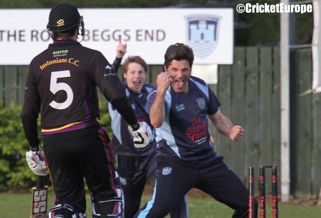 Ryan Eagleson celebrates the 4th wicket