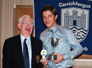 Murray Power presents Ryan Eagleson with his Cricketer of the Year Trophy