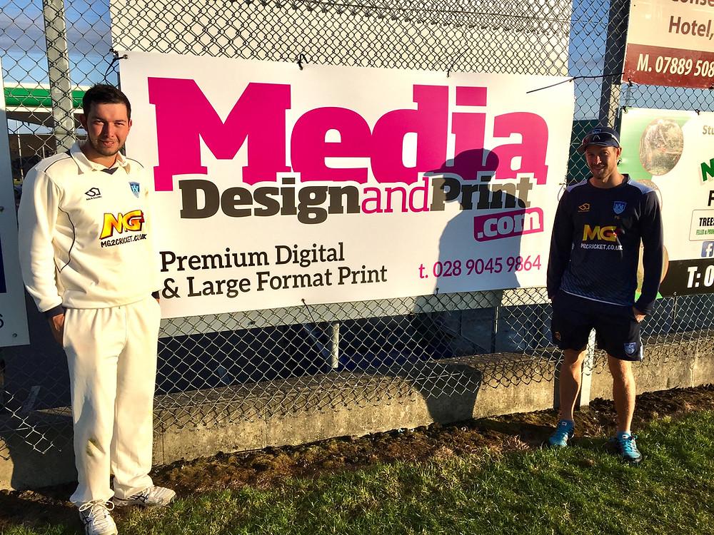 Carrick CC centurions Daniel Poulton and Patrick Botha with Match Sponsors Media Design & Print.