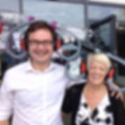 Alex Norris MP & Cllr Jackie Morris wearing confuserphones