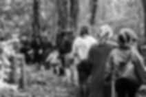 Line of people walking through woodland (Black and White)