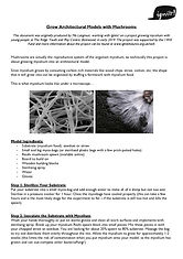Mycelium Model Making Experiment Sheet Front Page
