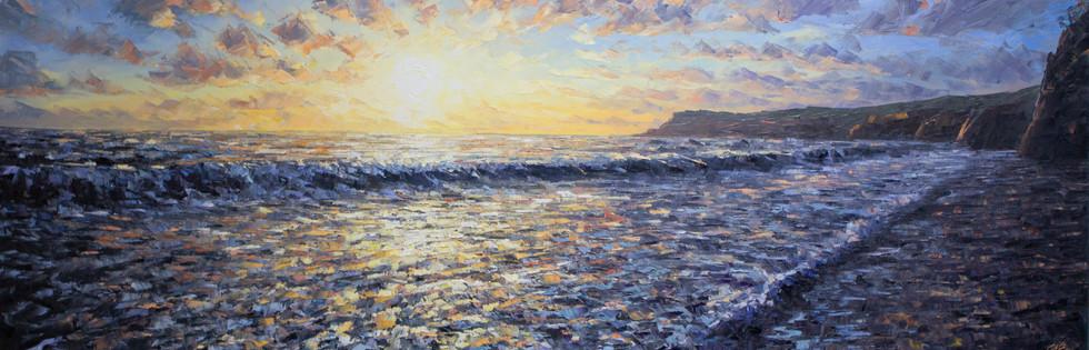 Dawn waves at Robin Hood's Bay (50x150cms)