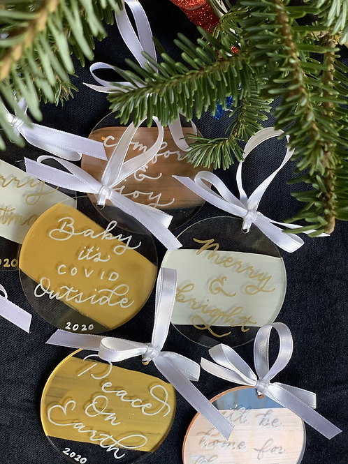 3 inch Circle Handlettered Ornament