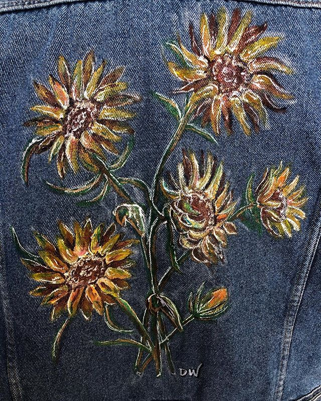 Custom sunflower jean jacket