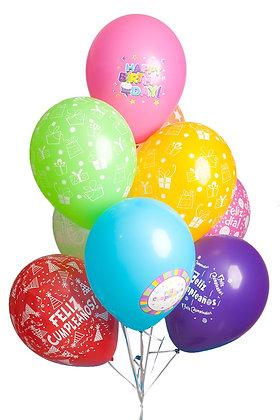Globos R12 surtidos estampados feliz cumpleaños