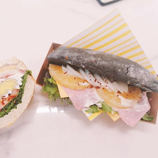 블랙 포카치아 하와이안 샌드위치 - 하프
