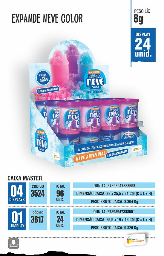 Expande Neve Color Disponível nas cores Rosa, Violeta, Azul Display 24 unidades peso liquido 8g | Caixa Master 1 Display | Caixa Master 4 Displays