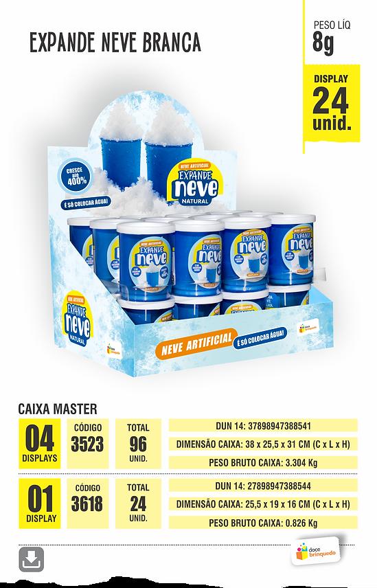 Lamina Expande Neve Branca Display 24 unidades peso liquido 8 gramas | Caixa Master com 1 Display | Caixa Master com 4 Displays