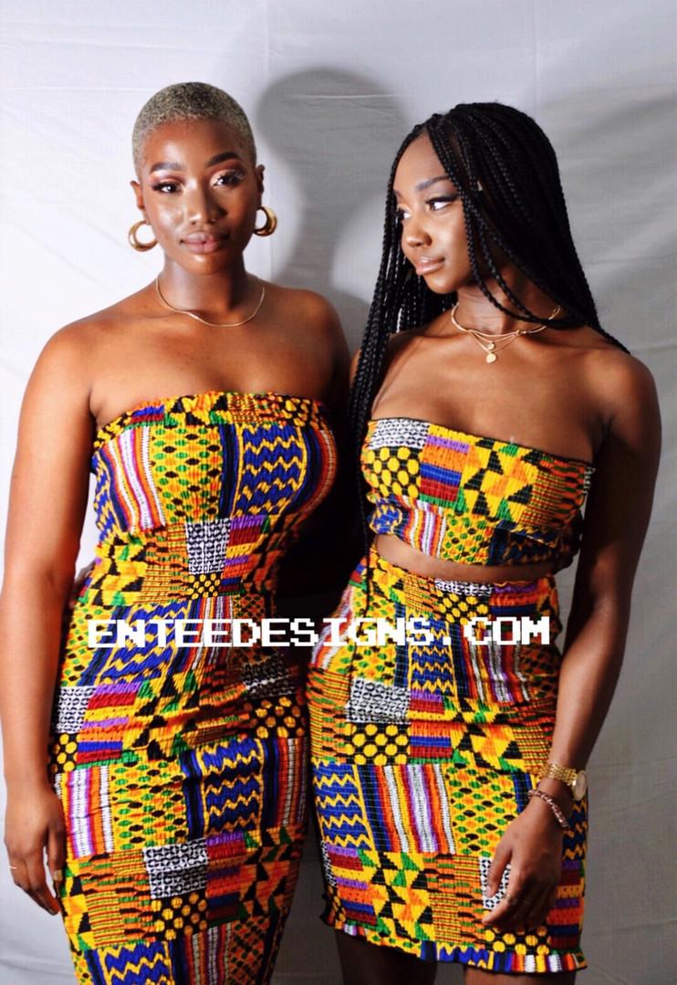 AMA midi  elastic dress | Abena two piece elastic dress