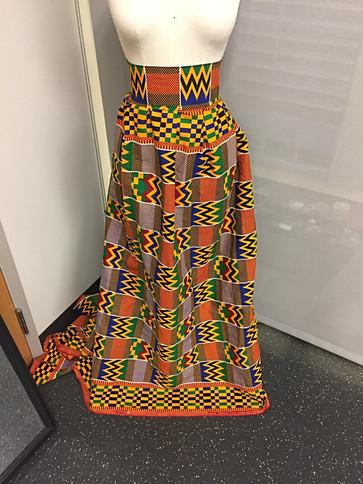 wide band wax african print skirt