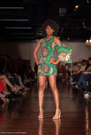 wax african print mini dress with removable layered sleeve. foil aplique