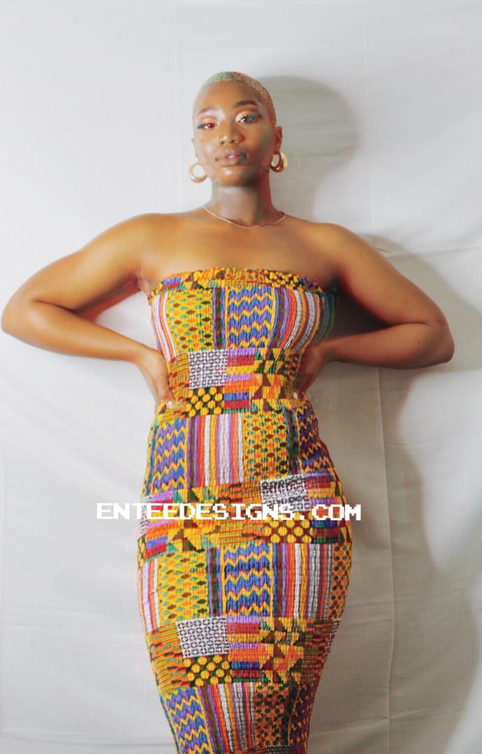 AMA Kente Midi Elastic Dress
