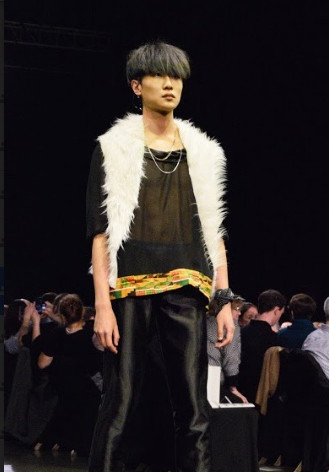 Look #3: sheer shirt with silk neckline and kente detailing. Paired with silk joggers