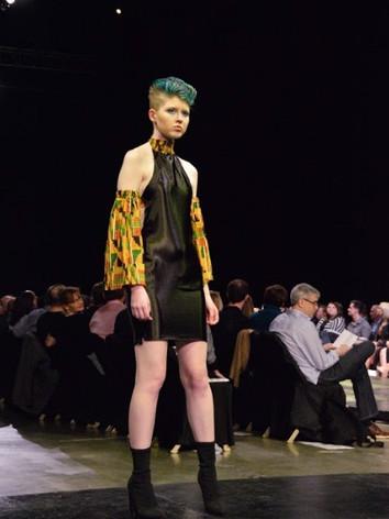 Look #2-silk high neck open back mini dress