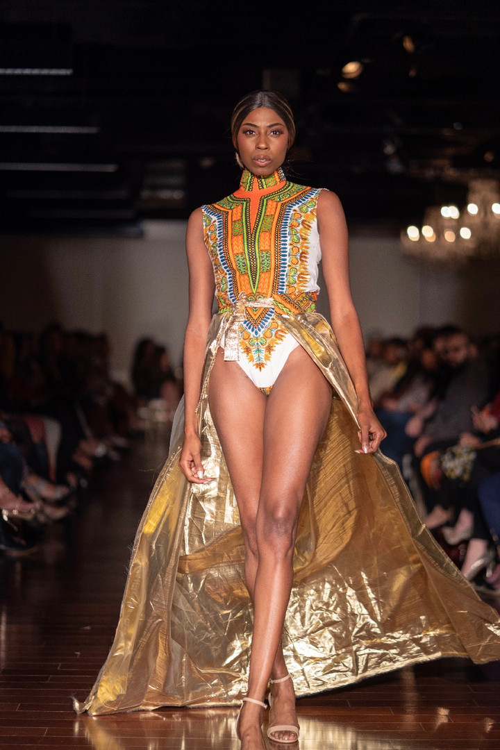 wax african print bodysuit with removable belted lamé skirt
