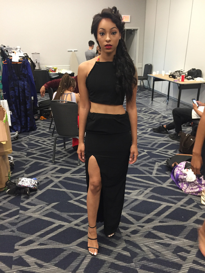look #2: cross back two piece set with fitted high slit skirt