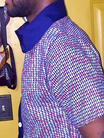 men's short sleeve dress shirt side view
