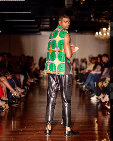 wax african print vest with satin elastic waist pant