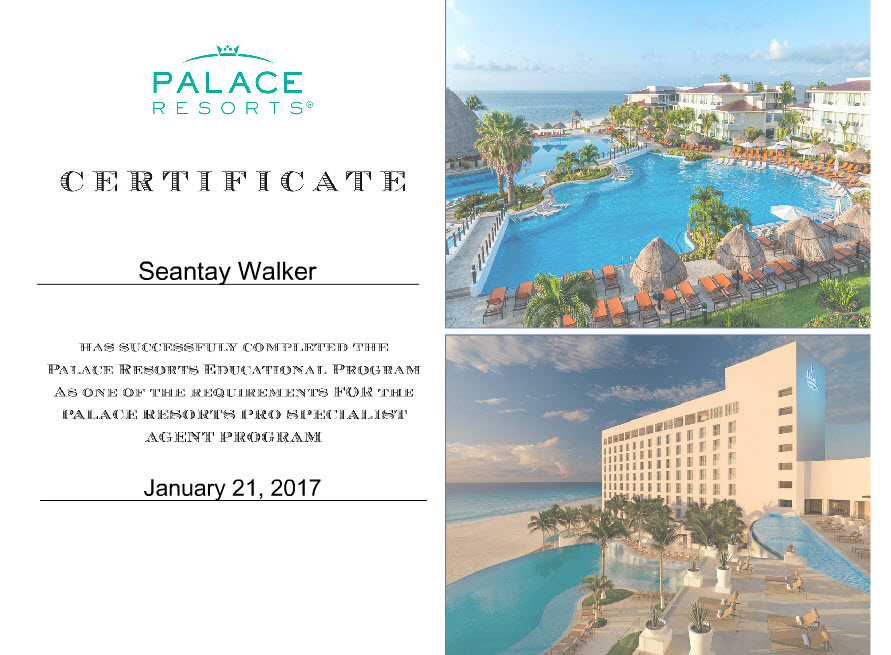 Palace Resorts Specialist Program - Certificate