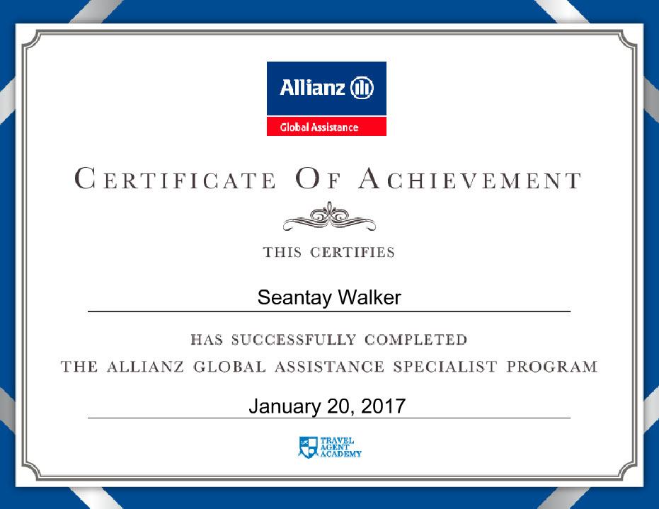 Allianz Global Assistance Specialist Program - Certificate