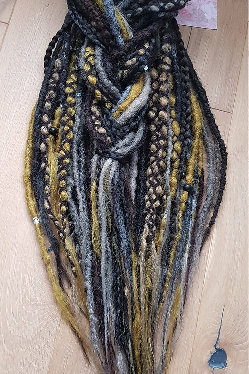 Full Set Ombre Grey Mix Synthetic Dreadlock Braid Extension Dreads / Decorated W