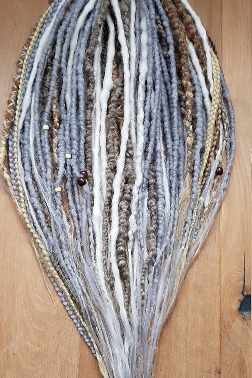 Full Set Silver Mix Dreadlock Braid Extension Dreads / Decorated With Beads / Do