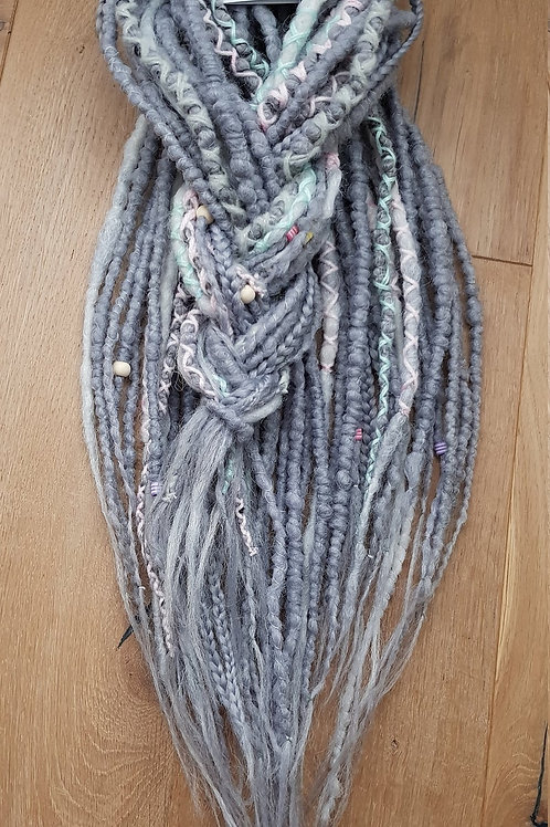 Full Set Mix Grey Synthetic Dreadlock Braid Extension Dreads / Decorated With Be