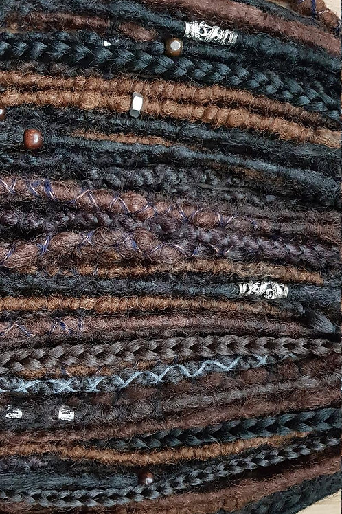 Full Set Mix Brown Synthetic Dreadlock Braid Extension Dreads / Decorated With B