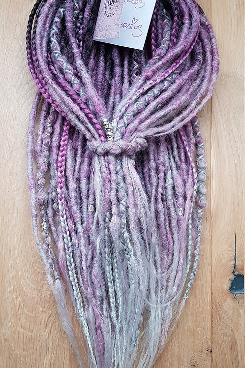 Full Set Ombre Ash Purple Dreadlock Braid Extension Dreads / Decorated With Bead