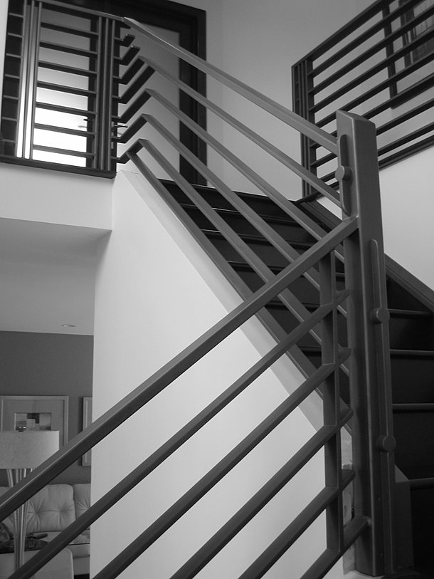 modern iron stair railing