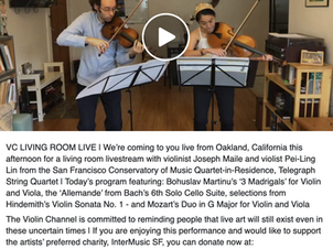 The Telegraph Quartet's Joseph Maile and Pei-Ling Lin perform on VC Living Room Live