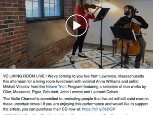 The Neave Trio's Anna Williams and Mikhail Veselov Perform on VC Living Room Live