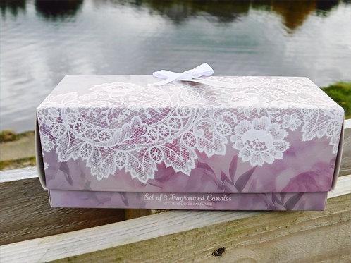 Fresh Linen set of three candle votives gift set