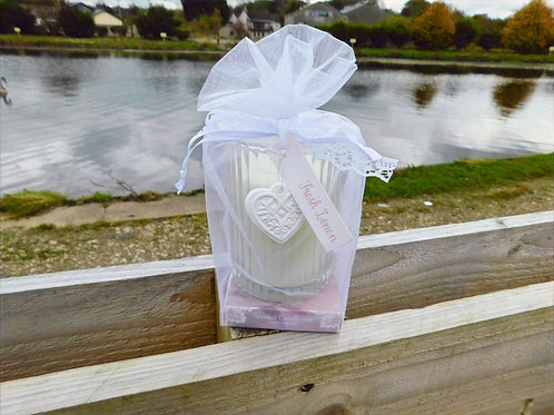 Organza wrapped Lace & Heart Candle