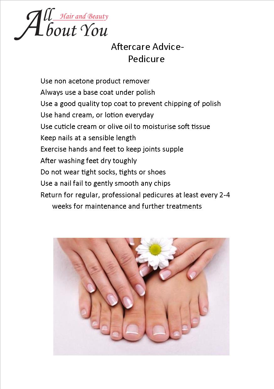 aftercare advice pedicure