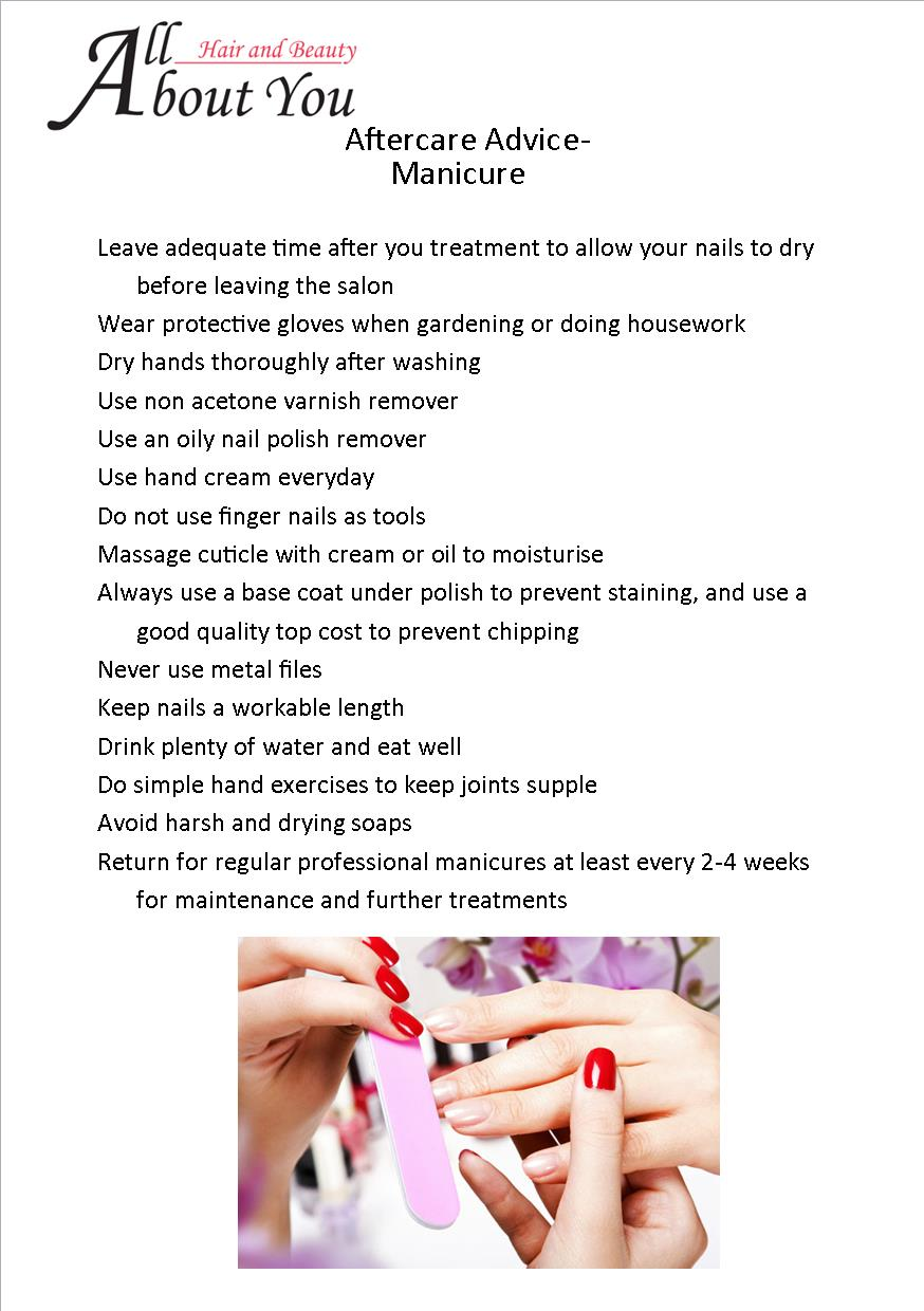 aftercare advice manicure