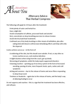 aftercare advice thai herbal compress