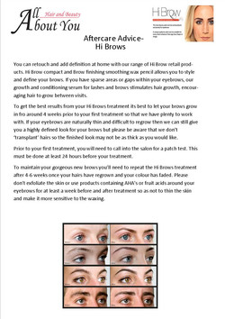 aftercare advice hi brows