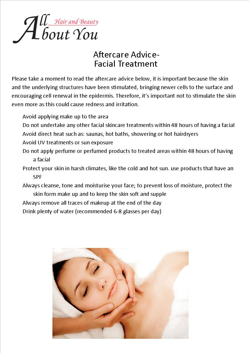 aftercare advice facial