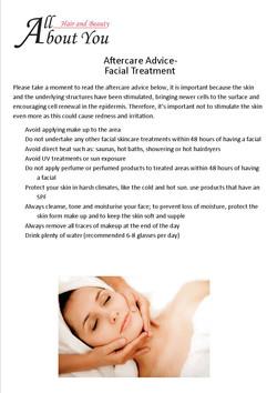 aftercare advice facial