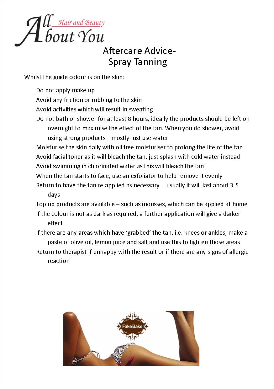 aftercare advice spray tan
