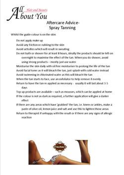 aftercare advice spray tan