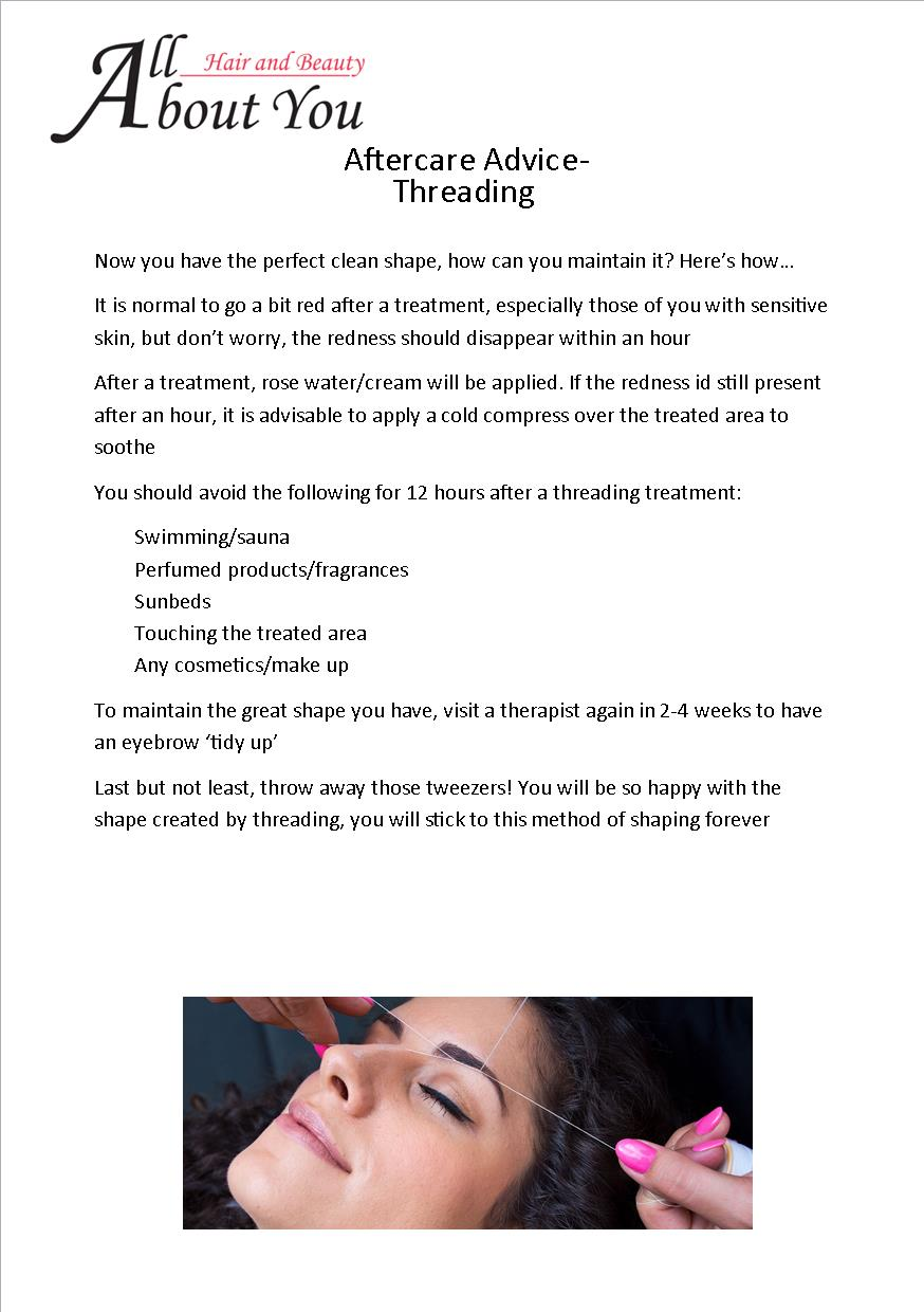aftercare advice threading