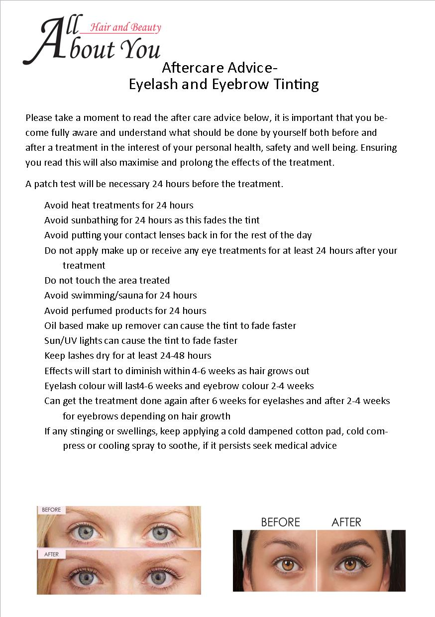 aftercare advice eyelash and eyebrow tinting