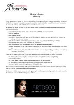 aftercare advice makeup