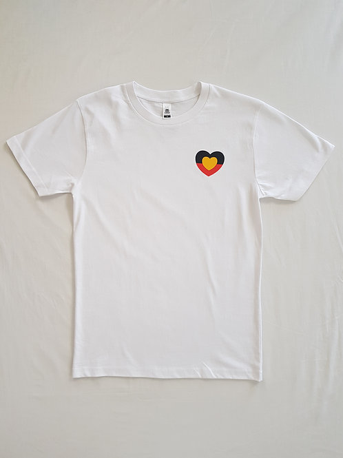 Adult. White tee. Small love heart