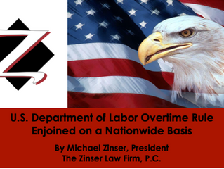 U.S. Department of Labor Overtime Rule Enjoined on a Nationwide Basis